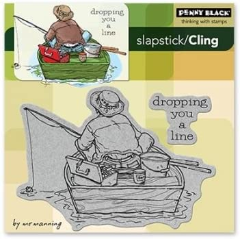 5 by 5-Inch Dropping You A Line Penny Black PB40129 Cling Rubber Stamp Sheet
