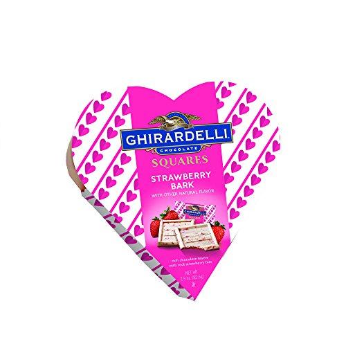 Ghirardelli Valentine Strawberry Bark Heart Gift Box, 2.9 Ounce