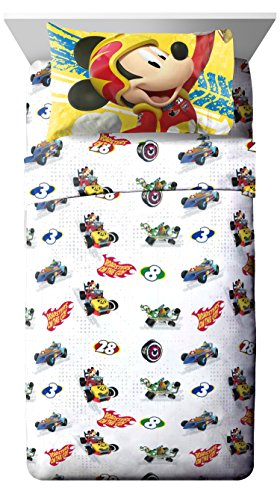 Disney Junior Mickey Mouse and The Roadster Racers 3-Piece Twin Sheet Set (Sheet Twin 3 Piece)