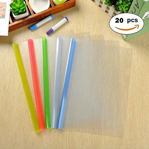 Transparent Plastic File Folder Sliding Bar Report Covers (with Thicker Sliding Bar,90 sheet capacity), Transparent Resume Presentation File Folders Organizer Binder For A4 Size Paper, 5 Color 20 Pcs