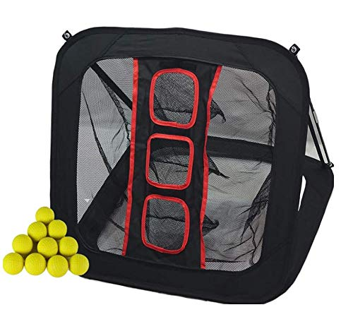 (Just Play Sports Golf Chipping Net w/ 12 Foam Practice Balls Collapsible/Pop Up Golfing Net with Movable Target, Indoor/Outdoor Practice)
