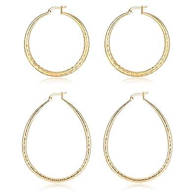 Amazon.com: Pendientes de aro para mujer chapados en oro de ...