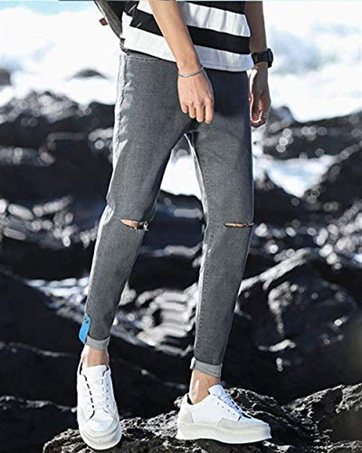 Stretch Cher 1808grau Pantaloni Fashion Chiaro Giovane Lavati Da Strappati Jeans Di Uomo Skinny Saoye Fori Colore Pants z8Tqg1g
