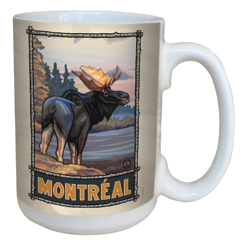 Tree-Free Greetings lm43340 Scenic Montréal Moose by Paul A. Lanquist Ceramic Mug with Full-Sized Handle, 15-Ounce, Multicolored
