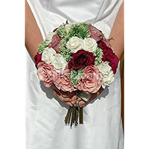 Vintage Burgundy, Pink and Ivory Rose Bridal Bouquet w/ Allium 83