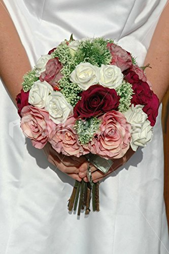 Vintage Burgundy Pink And Ivory Rose Bridal Bouquet W Allium