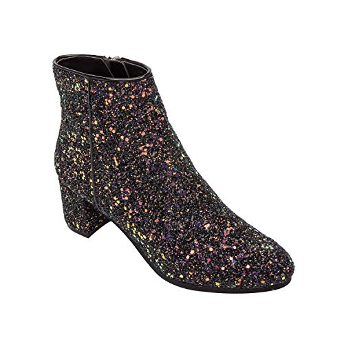 Glitter Ankle Boots - Pic & Pay BREE   Low Mid Block Heel Ankle Bootie Suede Boot Comfortable Insole Padded Arch Support Boysenberry Glitter 9.5M