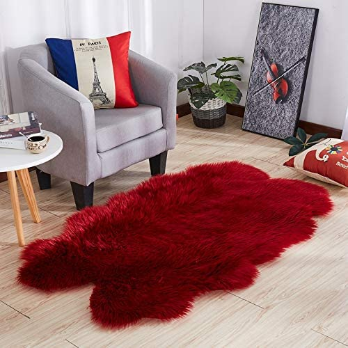 Faux Sheepskin Rug Faux Fur Rug Shaggy Area Rugs for Bedroom Sofa Floor Baby Nursery Childrens Kids Room Rug 5 x 6 , Wine