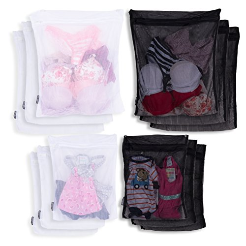 Rack and Hook Laundry Washing Bags Travel Sorting White and