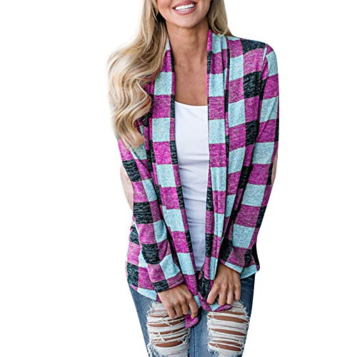 HYIRI Big Cardigan Tops,Womens Plaid Open Cape Coat Loose Kimono Jacket -