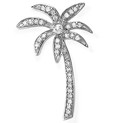 0.20 Carat (ctw) Sterling Silver Diamond Palm Tree Pendant 1/5 CT ()