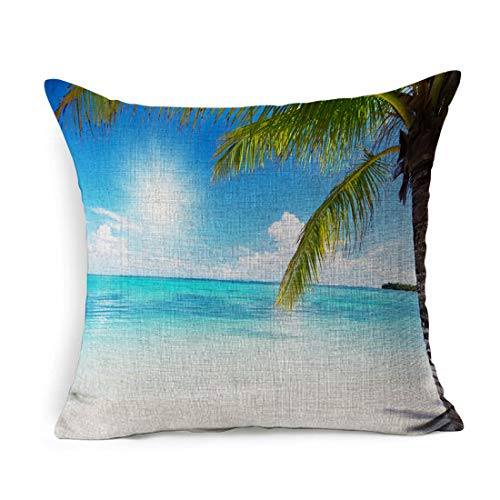 Ahawoso Linen Throw Pillow Cover Square 20x20 Bay Blue Caribbean Ocean Coconut Palms Nature Beach Atlantic Parks Green Island Tropical Pillowcase Home Decor Cushion ()