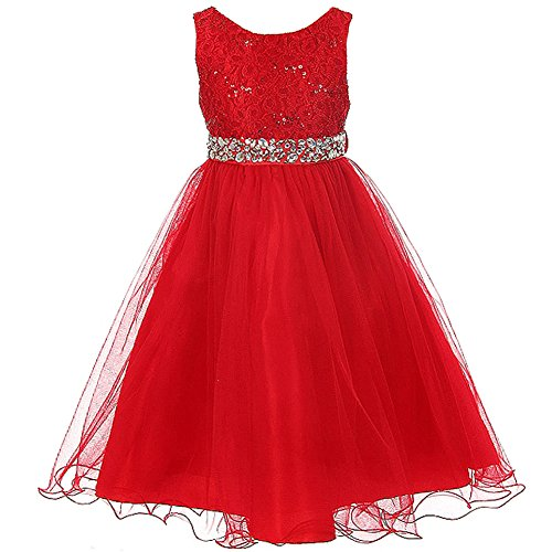 Big Girls Sleeveless Dress Glitters Sequined Bodice Double Layer Tulle Skirt Rhinestones Sash Flower Girl Dress Red - Size 14 - Tea Length Sequined Dress
