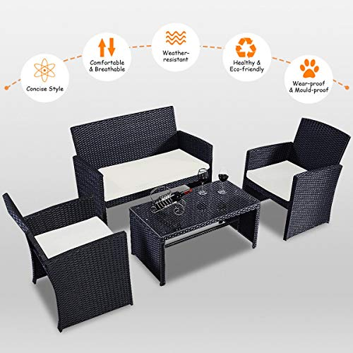 ANA Store Black Wicker Yard Upholstered Seat Set of 4 Pcs Rectangle Body Tempered Glass Top Bar Sofa Side Table with Bed Lounge 2 Armchair 4 Piece Stylish Rattan Outdoor Seating
