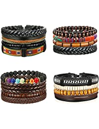 4 Packs Men Leather Bracelets Hemp Cords Wood Beads...