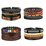 Thunaraz 4 Packs Men Leather Bracelets Hemp Cords Wood Beads Ethnic Tribal Bracelets Leather Wristbands