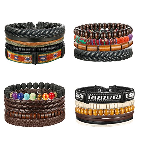Thunaraz 4 Packs Men Leather Bracelets Hemp Cords Wood Beads Ethnic Tribal Bracelets Leather (Hemp Wood)