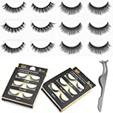 Urbun 2 Styles 6 Pairs Multipack Luxurious Real Mink 3D Natural False Eyelashes with Clip Tweezer Cross Long Black Makeup Eye Lashes