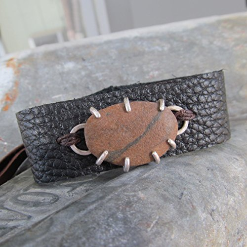 Mens Black Leather Cuff Bracelet with Sterling Silver and Beach Stone 4 - Diana Anton Jewelry Design (Pebble Beach Matte)