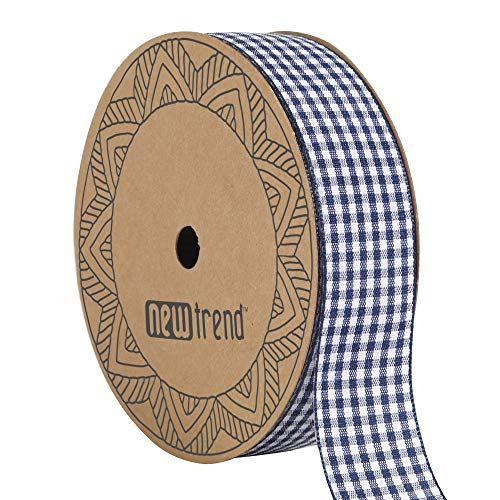 NewTrend Gingham Ribbon 25 Yard Each Roll 100% Polyester Woven Edge (7/8-Inch, Blue)