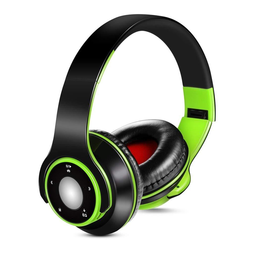 Han Shi Wireless Bluetooth Headphones Foldable Lightweight Over Ear Headsets with Microphone, Soft Earpads Deep Bass Stereo Earphone for Sport, Work, Travel #BAO0120-007(Green)