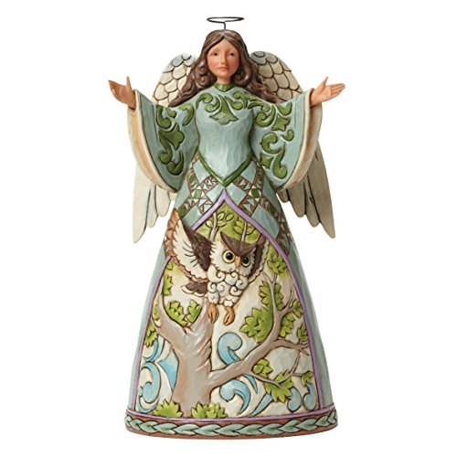 Department 56 Jim Shore Heartwood Creek Angel with Owl Figurine, 9.5