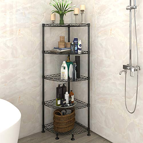 Lifewit 5-Tire Corner Wire Shelf Bathroom Corner Shelf, Free Standing Corner Storage Rack,Adjustable,Carbon Steel,Black