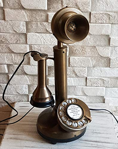 Vintage Style Decorative Antique Brass Candlestick Working Telephone Decor Home. by Decor n style store