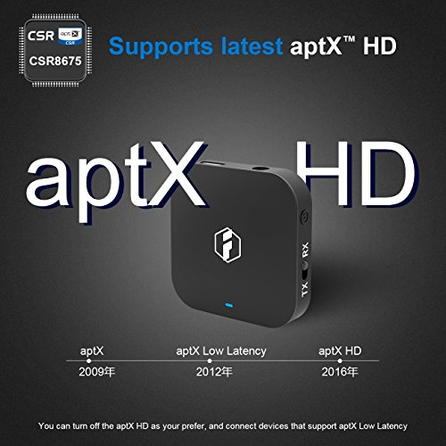 Inateck aptX HD Bluetooth Transmitter and Receiver, Wireless Bluetooth  Adapter for Stereo TV Audio,BR1008