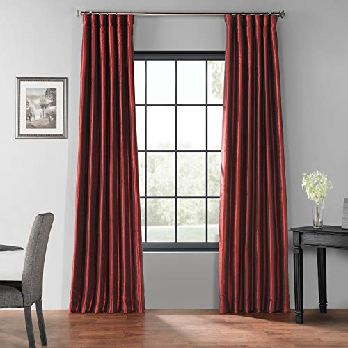 HPD Half Price Drapes PDCH-KBS5BO-84 Blackout Vintage Textured Faux Dupioni Silk Curtain, 50 X 84, Ruby ()