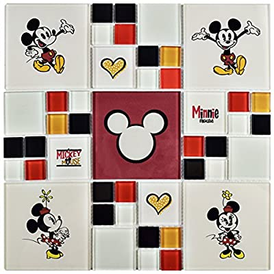 "Disney WDSMNM39 Disney WDSMNM39 Mickey and Minnie Multi Glass Mosaic Wall Tile, 11.75"" x 11.75"", Black/White/Red/Yellow"