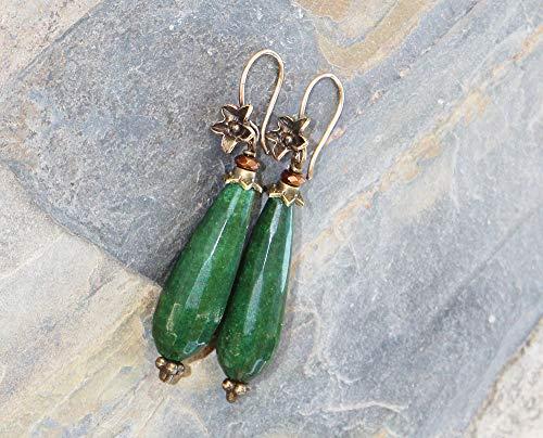 Emerald Green Earrings, Flower Earrings, Bronze Earrings, Holiday Jade Earrings, Stone Earrings, Handmade Earrings, Emerald Earrings