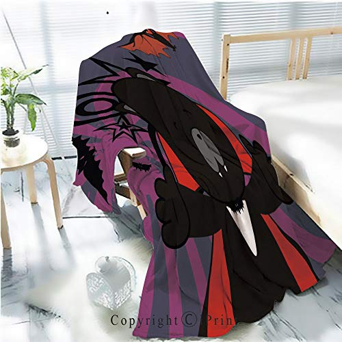 AngelSept Flannel Printed Blanket for Warm Bedroom,Cute Panther Dracula Costume Halloween Background Cracked Burning Earth Decorative,One Side Printing,W47.2 x H78.7 -
