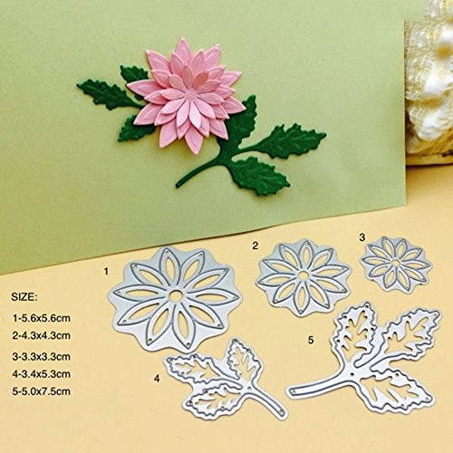 Cuts Embossing Die (Whitelotous 5pcs Flower Leaves Cutting Dies Handmade DIY Stencils Template Embossing for Card Scrapbooking Craft)
