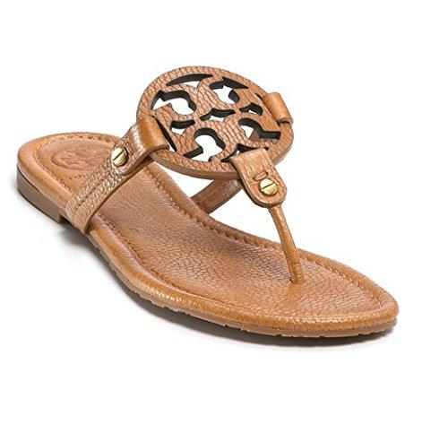Tory Burch Miller Flip Flop Leather Thong Sandal LOGO (6, Royal Tan Tumbled Leather)
