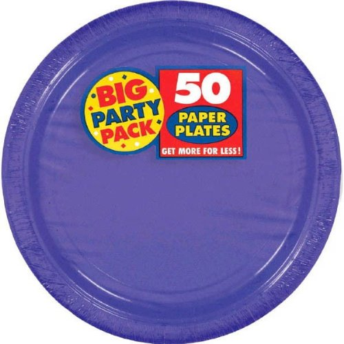 Cheap Amscan Big Party Pack 50 Count Paper Dessert Plates, 7-Inch, New Purple