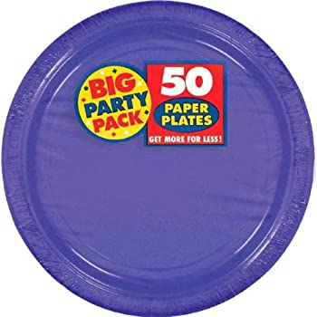 Amscan Big Party Pack 50 Count Paper Dessert Plates 7-Inch New Purple  sc 1 st  Amazon.com & Amazon.com: Amscan Big Party Pack 50 Count Paper Dessert Plates 7 ...