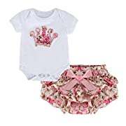 puseky Newborn Baby Girls Princess Crown Romper & Floral Tutu Shorts Outfits Set (White+Floral, M(3-6 Months))