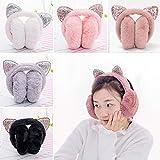 Livoty Ear Warms, Winter Warm Women Cartoon EAr Muffs Cat Ears Windproof Warm Adjustable Behind-The-Head Earmuffs (Watermelon)
