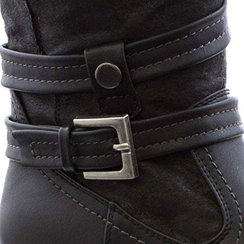 Lilley Block-Ferse-Pelz-Knöchel-Aufladung für Frauen durch Schwarze Schwarz