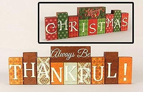 Youngs Fall Decor - Thanksgiving Christmas Reversible Block Sign - Sign Blocks Decor