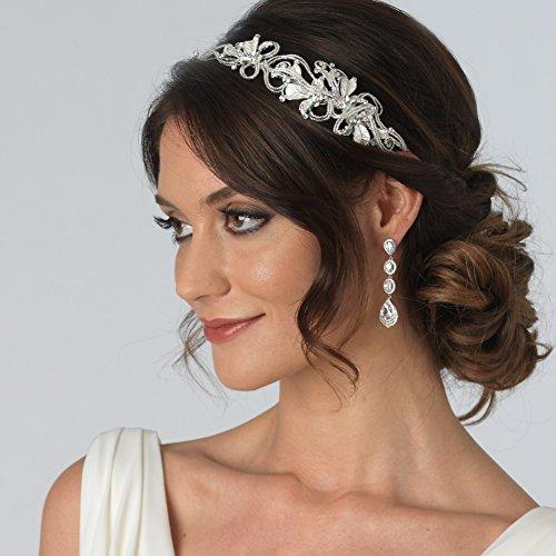 USABride Beaded Floral Side Headband, Silver-Tone Rhinestone Bridal Headpiece 3189