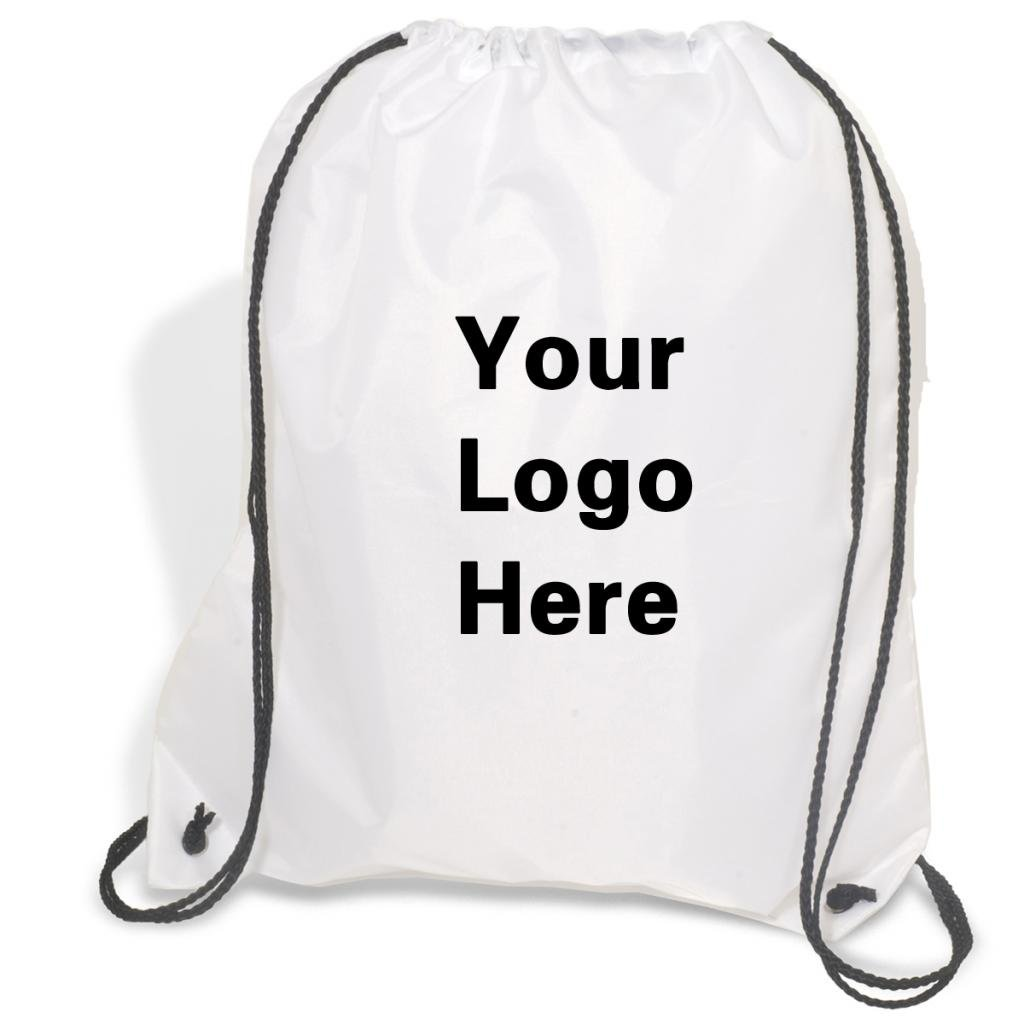 Promotional Drawstring Bag String-A-Sling Backpack- 15''w x 18''h flat bag- 100 Quantity - $1.83 Each -Promotional Products Bulk Custom Branded with YOUR LOGO for Free C2BPromo #C2BB0054H-White