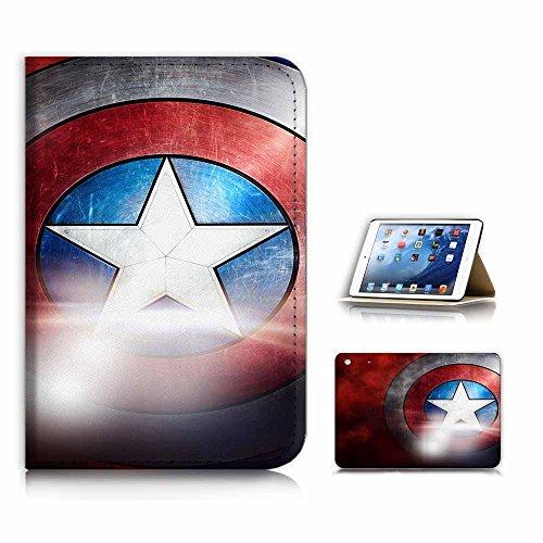 (for iPad Mini 1 2 3, Generation 1/2/3) Flip Case Cover & Screen Protector Bundle - A21009 Captain America Shield (Ipad 2 Mini Captain America)