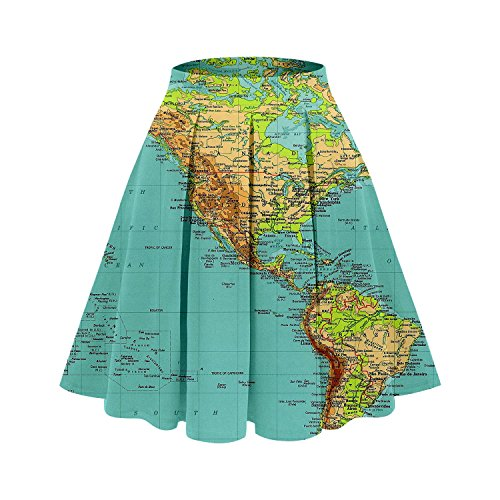 UNIFACO Women 3D Digital Map Print Midi Skirt High Waisted Knee Length Pleated A Line Skirts