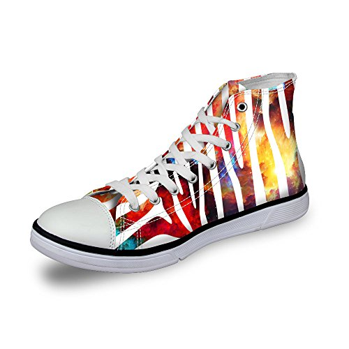 FOR U DESIGNS Shiny Glitter Unisex High Top Women Mens Galaxy Shoes Canvas Fashion Sneakers Lace Up Stripe 3 xdCIX