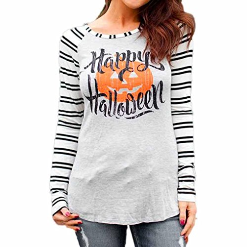 GBSELL Women Girl Halloween Costumes Stripe Print Long Sleeve Blouse Tops T shirt (S, Gray)
