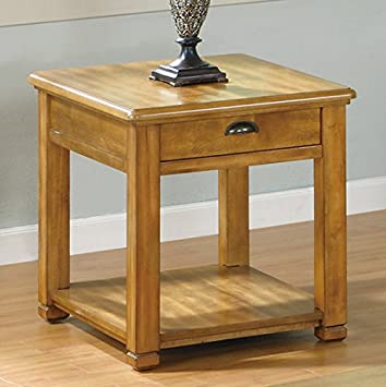 Bon Monarch Specialties Veneer End Table With 1 Drawer, Light Oak