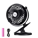 #10: FYLINA USB Fan Mini Clip On Desk Fans Rechargeable and Battery Powered Fan for Baby Stroller Car Camping Gym, Metal Design with 2600mAh Enhanced Airflow, Lower Noise- Black