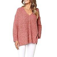 DuseedikWomen Winter Fashion Long Sleeve Knitted Solid Tops Loose Sweater Blouse